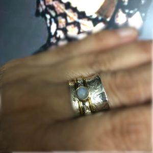Solid 925 Moonstone Spinner Ring